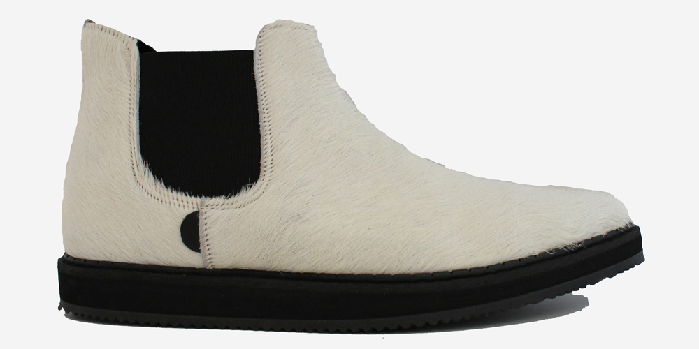 d6f812cda8a METEOR ANKLE CHELSEA BOOT - OFF-WHITE SUEDE & PONY HAIR - SINGLE SOLE