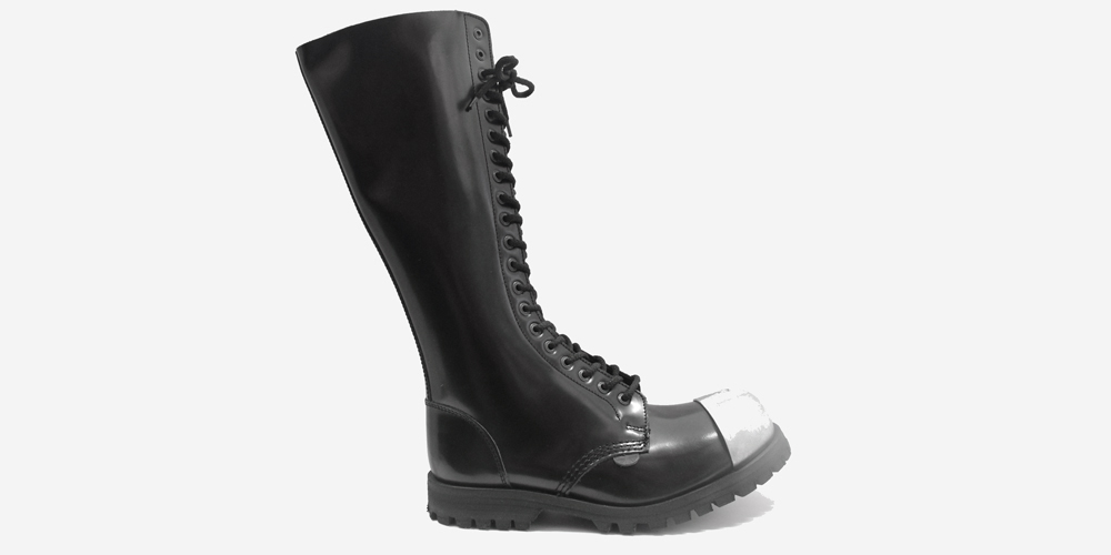 premium selection 626e4 aa800 GRIPPER 20 EYELET EXTERNAL STEEL CAP BOOT – BLACK LEATHER – SINGLE SOLE