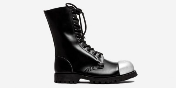 low priced 1d912 ec401 COMMANDO 10 EYELET EXTERNAL STEEL CAPS BOOT – BLACK LEATHER – SINGLE SOLE