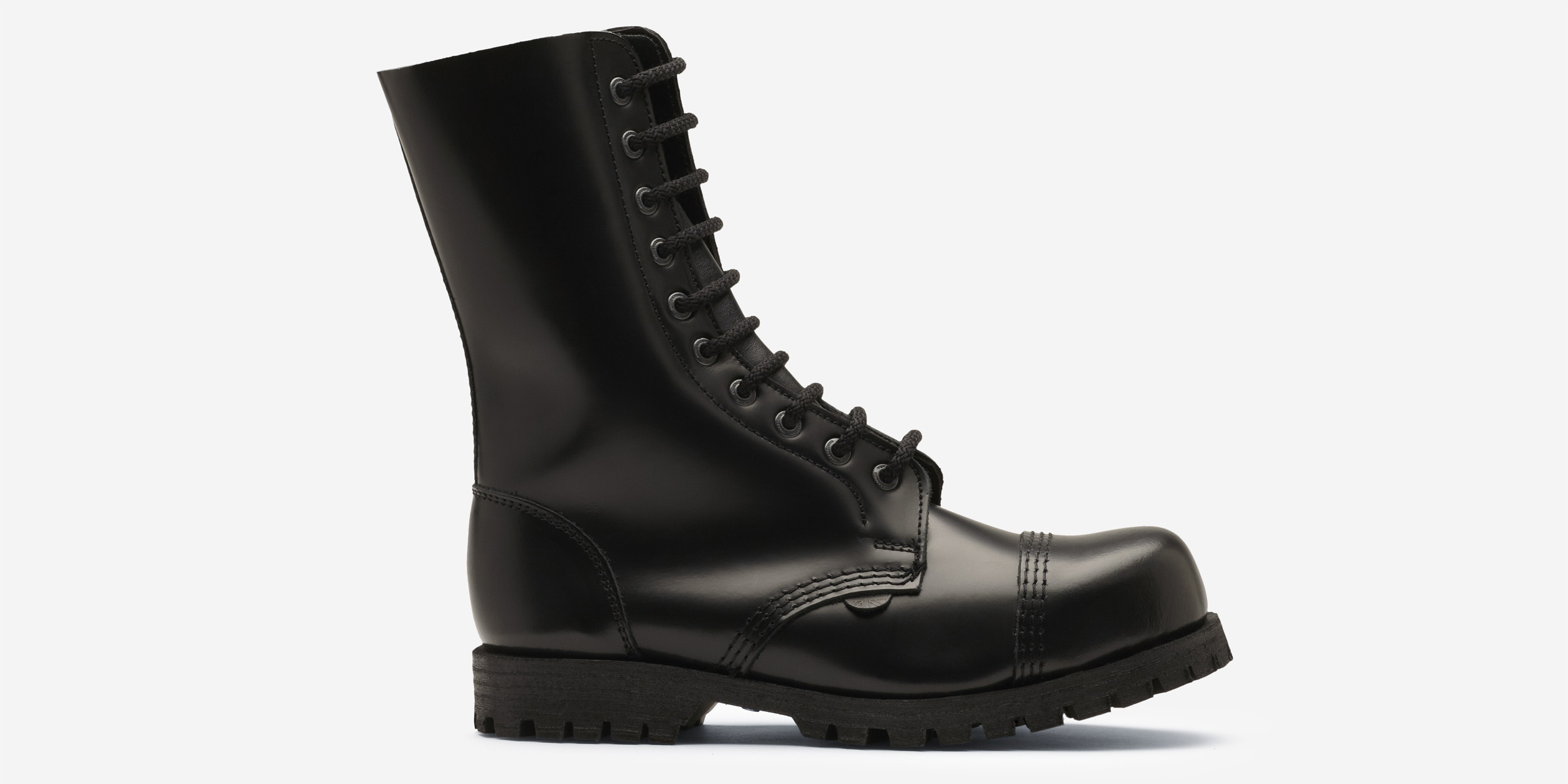 b60931728c1bc7 COMMANDO 10 EYELET STEEL CAP BOOT - BLACK LEATHER - SINGLE SOLE ...