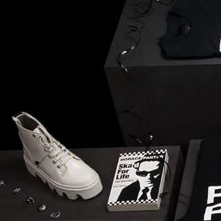 Black and White Unite - the Jungle Boot in bright white. Books online and in store. Two Tone Tales in this book from Horace Panter. Online and Instore. Happy Shopping!  #undergroundshoe #undergroundshoes  #undergroundlondon  #8berwickstreet  #underground_halfmoon #UNDERGROUND_SOUNDWAVE #UNDERGROUND_JUNGLE