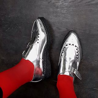 The Original Apollo Creeper - this version in a super reflective Silver Mirror Leather. As seen on @judychou0608  #undergroundshoe  #undergroundshoes  #undergroundlondon  #8berwickstreet  #underground_halfmoon #UNDERGROUNDCREEPERS #creepers #thecreeper #Brothelcreepers